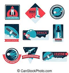 étiquettes, programme, exploration, spécial, aventure, ...