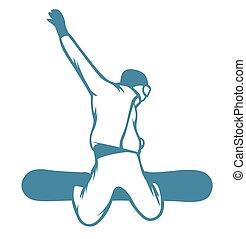 étiquettes, recours, logo, emblèmes, ski, insignes