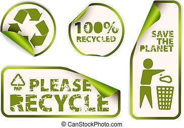 étiquettes, recyclé, ensemble, autocollants, insignes