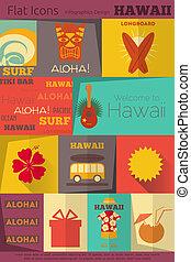 étiquettes, retro, collection, hawaï