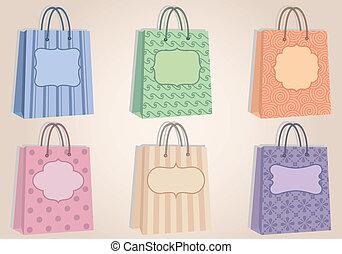 étiquettes, sacs, achats, ve, vide