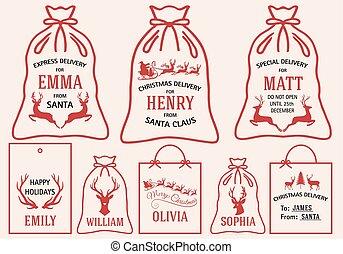 étiquettes, sacs, ensemble, noël, vecteur