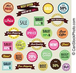 étiquettes, site, vente, expédition, desconto, escompte, ...