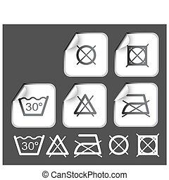étiquettes, souhait, lavage, symboles