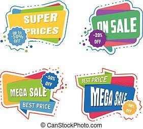 étiquettes, super, vente, collection, escompte, clair, vecteur, bannières, bulle, autocollants