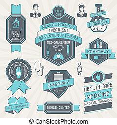 étiquettes, tags., ensemble, monde médical
