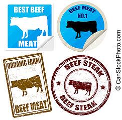 étiquettes, timbres, ensemble, viande, boeuf
