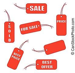 étiquettes, vecteur, rouges, vente, illustration