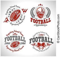 étiquettes, vecteur, stock., t-shirt, aviateur, affiche, print., ou, football, américain, vendange