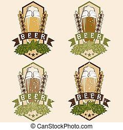 étiquettes, vendange, bière, ensemble, vecteur