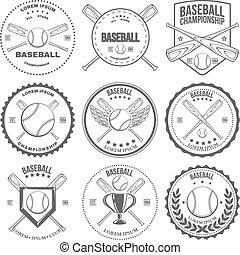 étiquettes, vendange, ensemble, base-ball, insignes