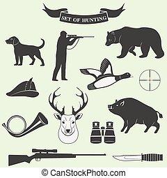 étiquettes, vendange, ensemble, chasse