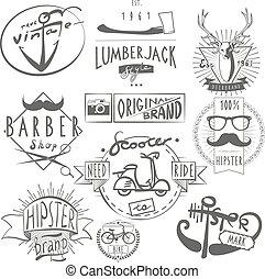étiquettes, vendange, ensemble, hipster, noir