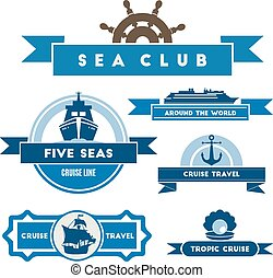 étiquettes, vendange, ensemble, nautique, icônes