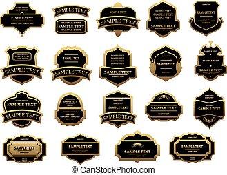 étiquettes, vendange, ensemble, noir, or