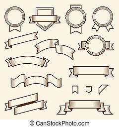 étiquettes, vendange, ensemble, rubans