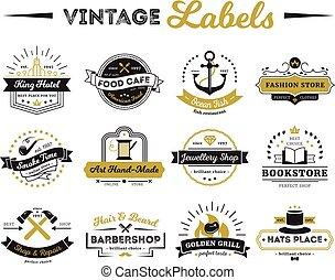 étiquettes, vendange, magasins, café