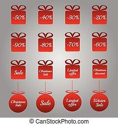 étiquettes, -, ventes, établissement des prix, noël, rouges