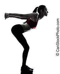 étirage, femme, silhouette, bras, exercisme