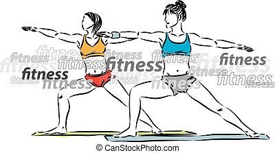 étirage, vecteur, illustration, lettrage, fitness, femmes