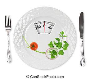 étkezés., tányér, mérleg, súly, vöröshagyma, cseresznye, ...