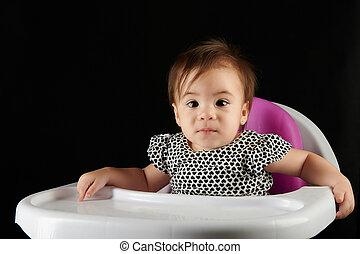 étkezési, ül, csecsemő, asztal, leány, szék
