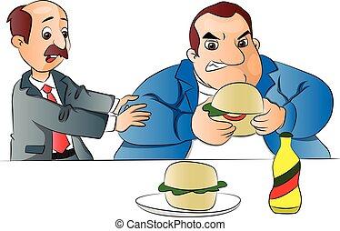 étkezési, burger., vektor, megállítás, barát, ember
