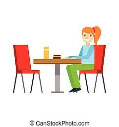 étkezési, leány, ülés, desszert, ábra, torta, személy, vektor, cukrászsütemény, kellemes, asztal, mosolygós, kávéház, birtoklás