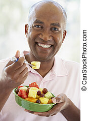étkezési, saláta, középső, gyümölcs, friss, idős, ember