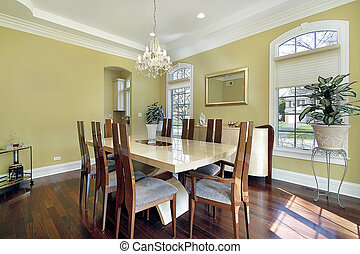 étkező, közfal, szoba, sárga