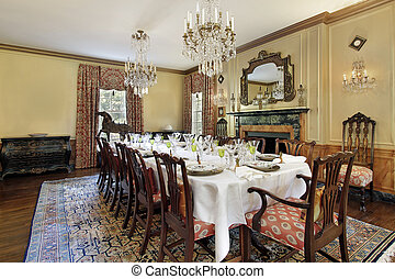 étkező, kandalló, szoba