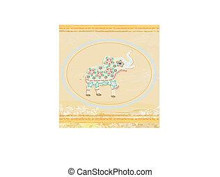 étnico, cartão, elefante