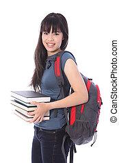étnico, estudante universitário, menina, com, educação, livros