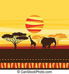 étnico, fundo, savanna., ilustração, africano
