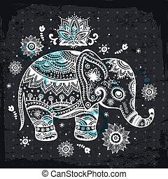 étnico, ilustración, elefante