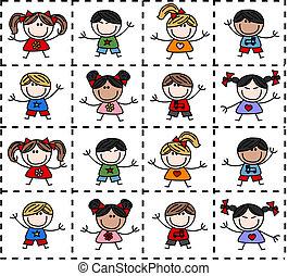 étnico, mezclado, feliz, niños