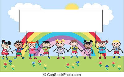étnico, mezclado, niños