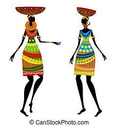 étnico, mujer, con, florero