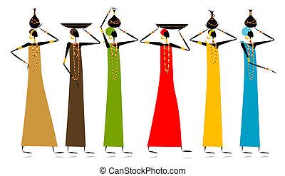 étnico, mujeres, con, jarras