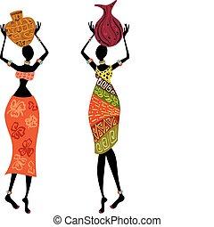 étnico, mulher, com, vaso