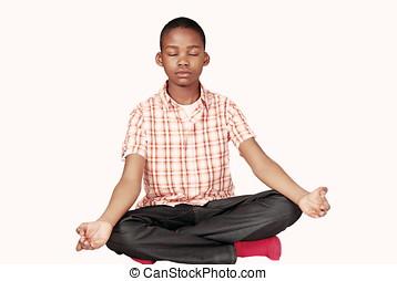 étnico, niño, yoga, meditación