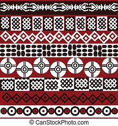 étnico, patrón, con, africano, símbolos
