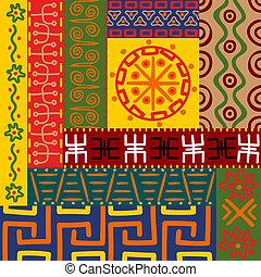 étnico, patrones, y, ornamentos