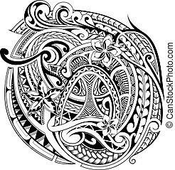 étnico, polynesian, ornamento, elementos