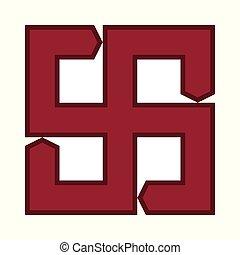 étnico, símbolo., báltico, fuego, ornamental, cruz