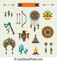 étnico, seamless, patrón, en, nativo, style.