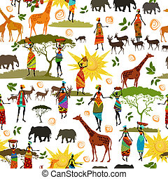 étnico, seamless, textura, africano