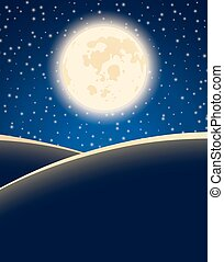 étoilé, ciel nuit, lune, arrière-plan., vecteur, grand