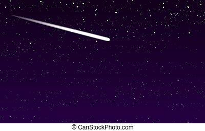 étoilé, comète, ciel, nuit