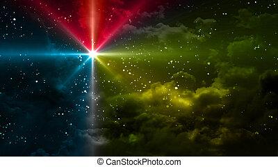 étoilé, couleurs, étoile, nuit